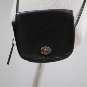 Vintage Coach Crossbody Bag Black Small Leather